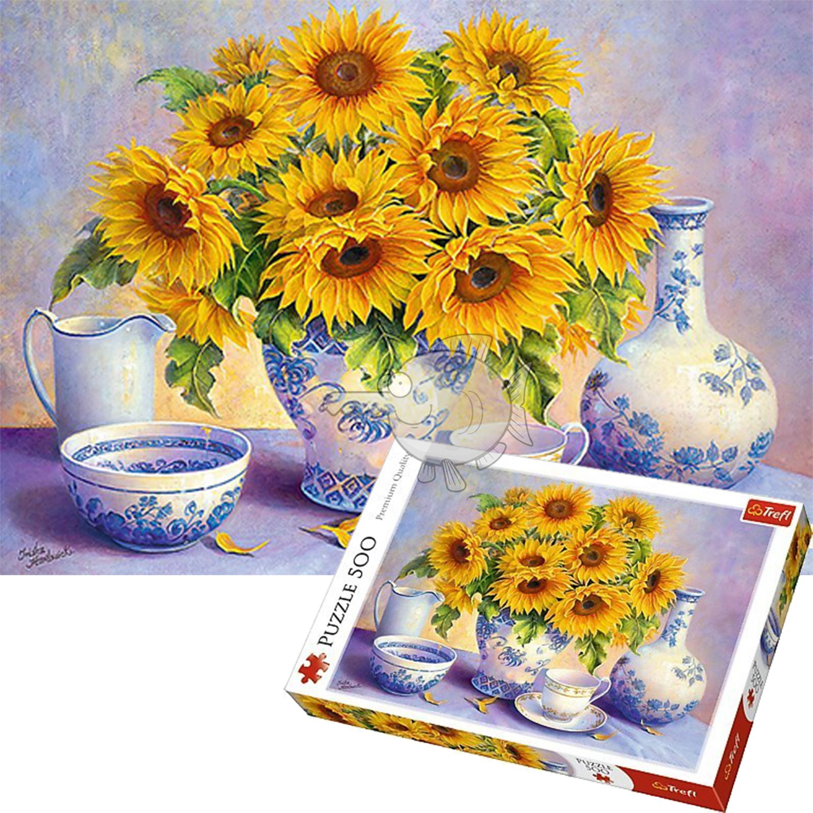 Trefl 500 Piece Kids Large Sunfloweer Boquet Vase Table Floor Jigsaw Puzzle NEW
