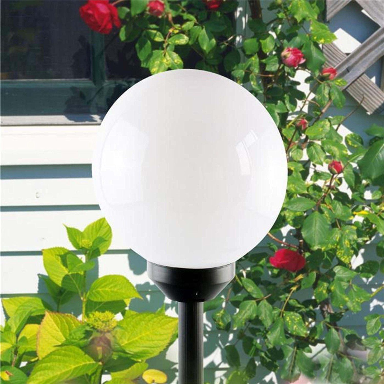 pack of 2 solar powered globe ball light round white led garden lighting lantern ebay. Black Bedroom Furniture Sets. Home Design Ideas