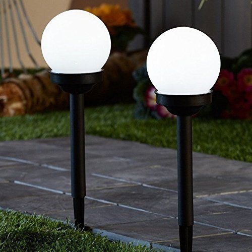 PACK OF 2 SOLAR POWERED GLOBE BALL LIGHT ROUND WHITE LED GARDEN LIGHTING LANTERN  eBay