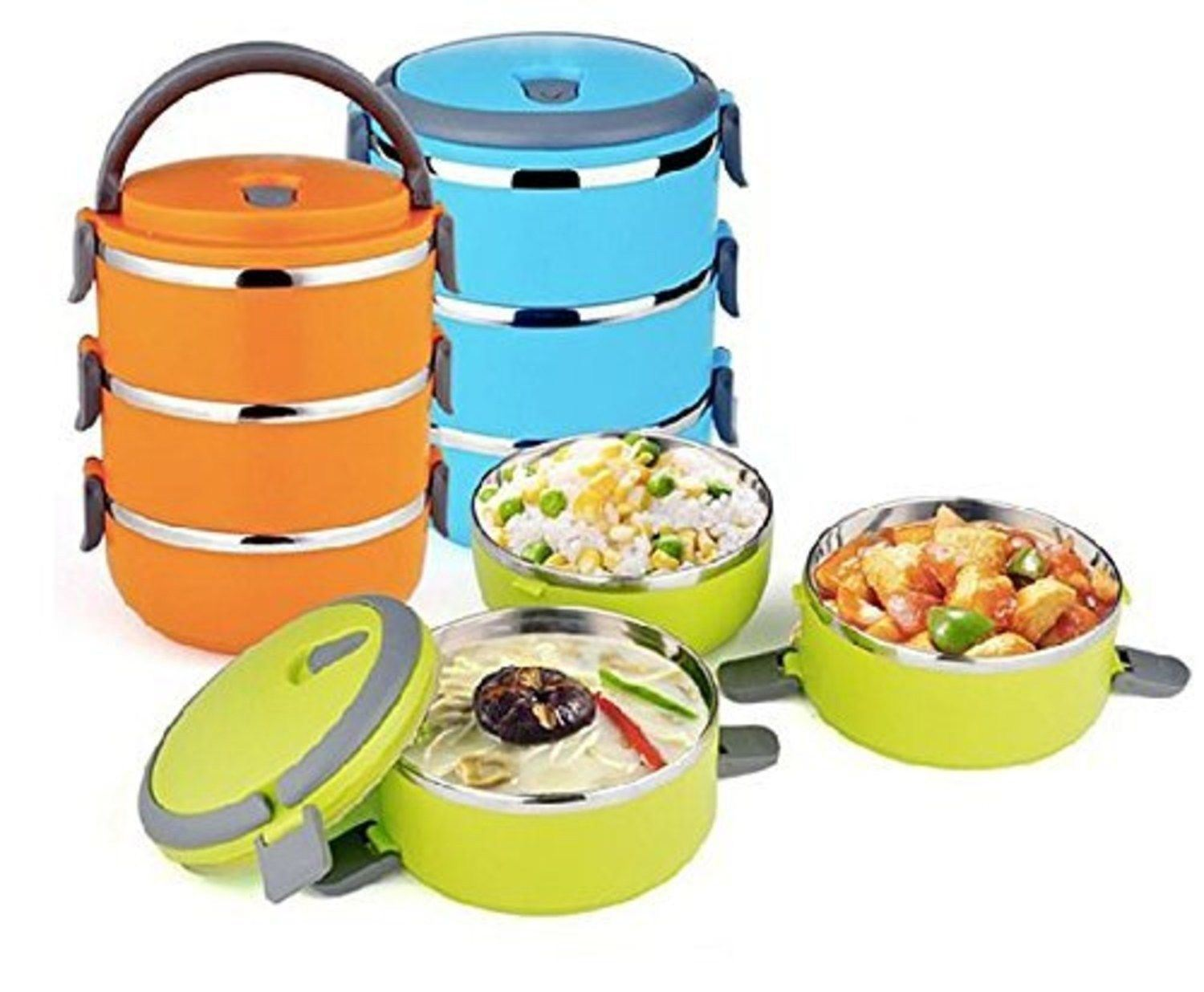 3 compartment lunch box food carrier stainless steel bowls keeps food fresh warm ebay. Black Bedroom Furniture Sets. Home Design Ideas