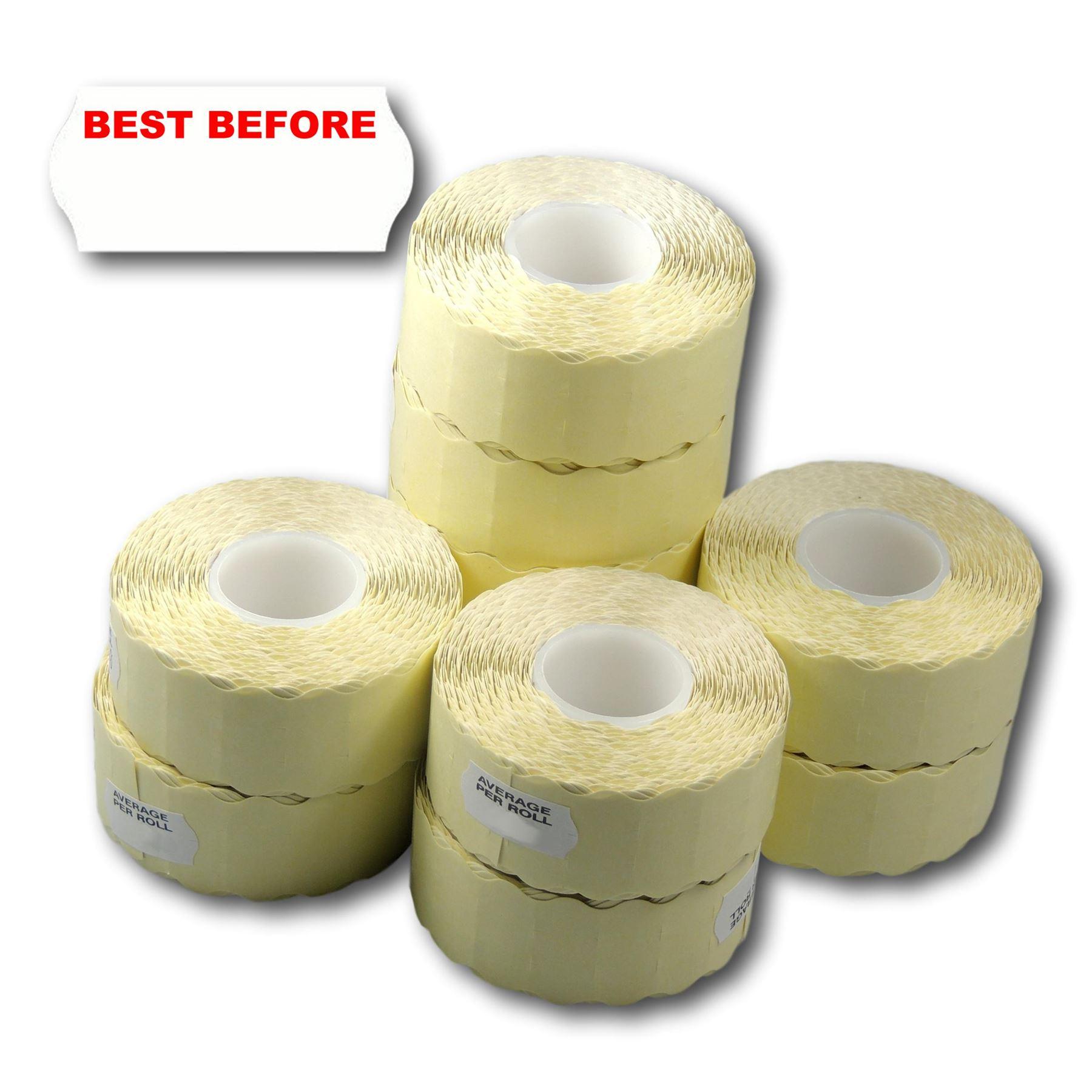 Fluorescent Yellow Best Before 22 x 12mm Price Gun Labels 10 Rolls CT1