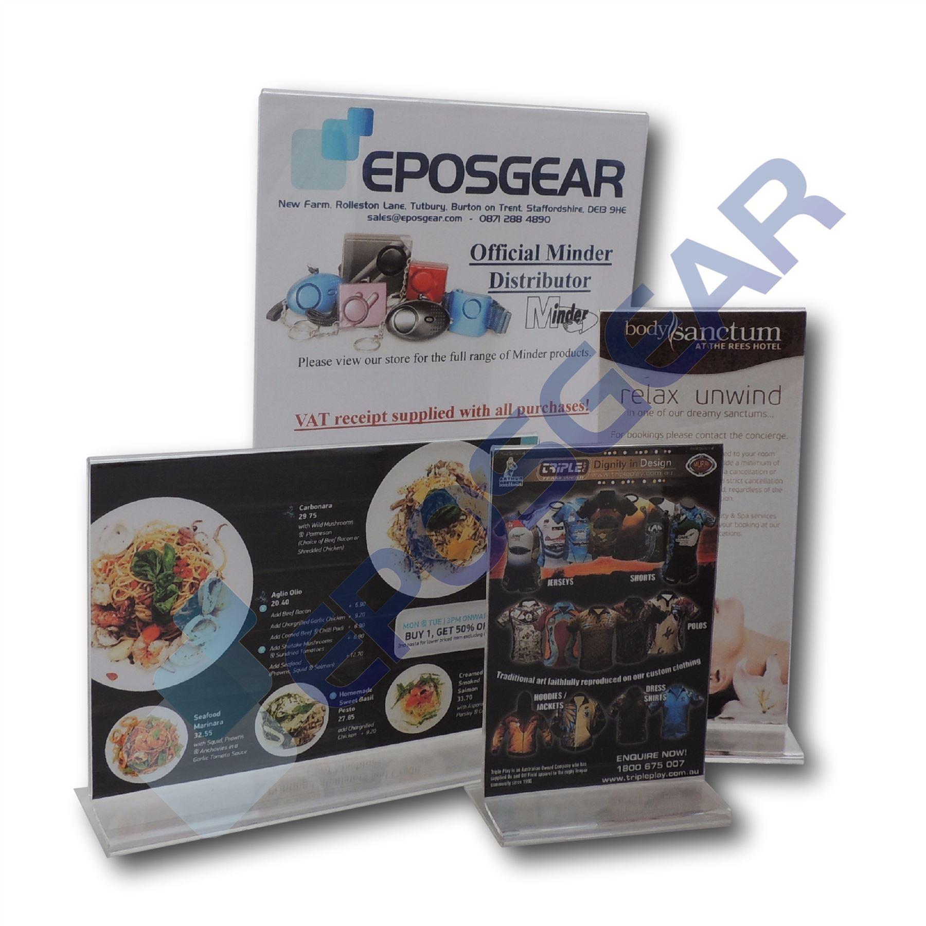 Portrait A5 Wall Mountable Acrylic Leaflet Flyer Brochure Menu Display Dispenser Holders EPOSGEAR/® 1 Pack