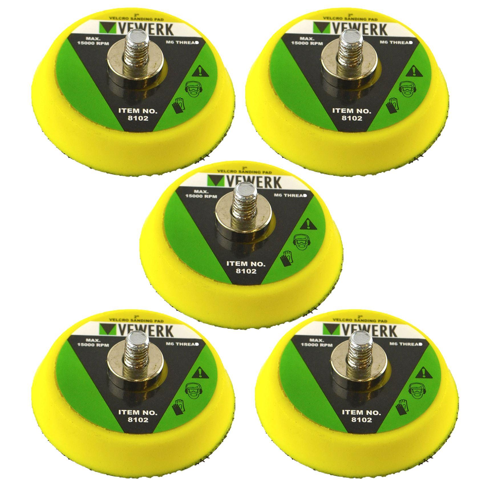 "thumbnail 5 - 2"" / 3"" Hook & Loop Backing Pads Sanding Polishing M6 Thread for Air Sander"