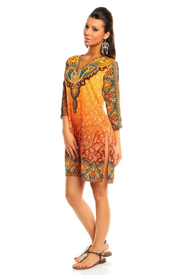 Ladies Looking Glam Tribal Print Kaftan Tunic Summer Top ...