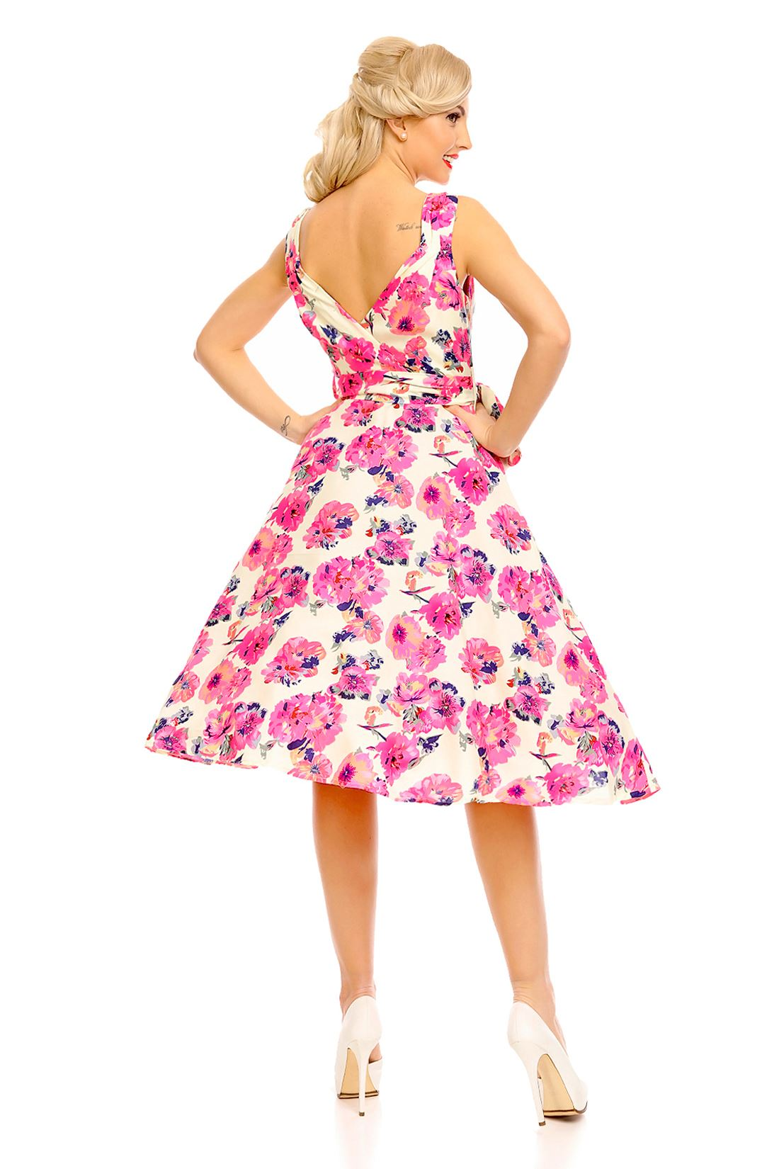 Details about Looking Glam 1950s Retro Vintage Pin Up Swing Floral Dress