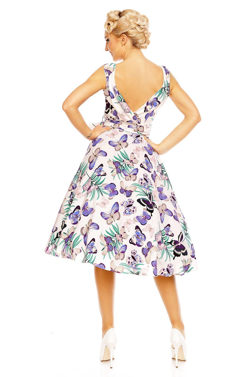 Looking Glam Retro Vintage Schmetterling Drucken kleid Für Frauen