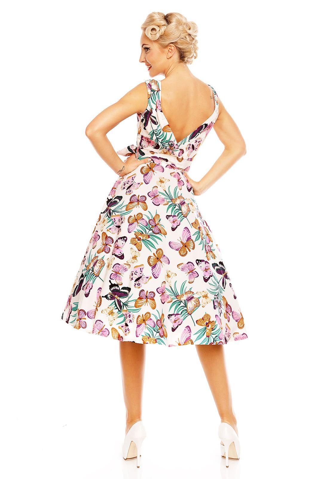 Looking Glam Retro Vintage kleid Für Frauen Schmetterling Drucken