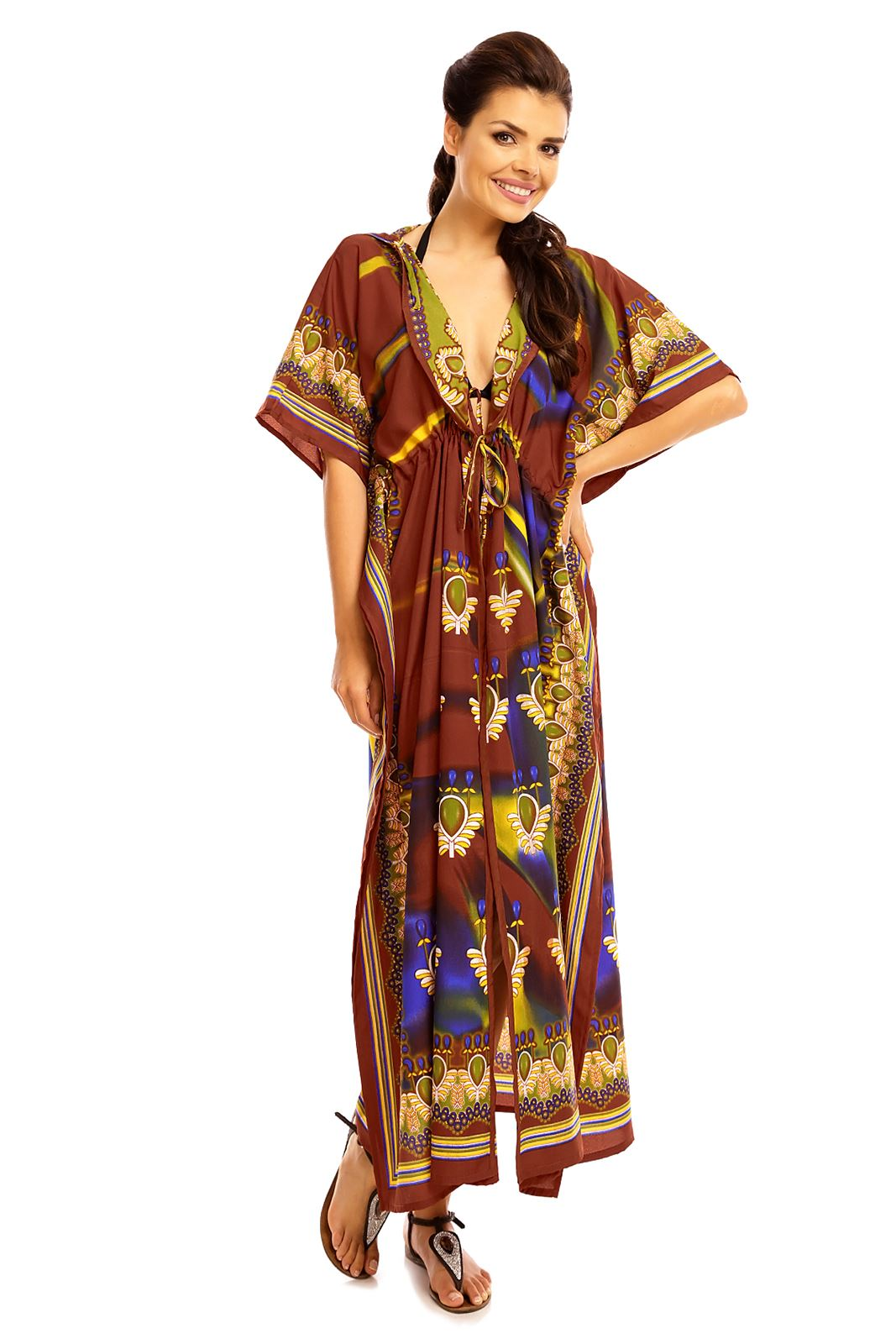 4187efa6cd Looking Glam Hooded Tribal Kimono Kaftan Gown Plus Size | eBay