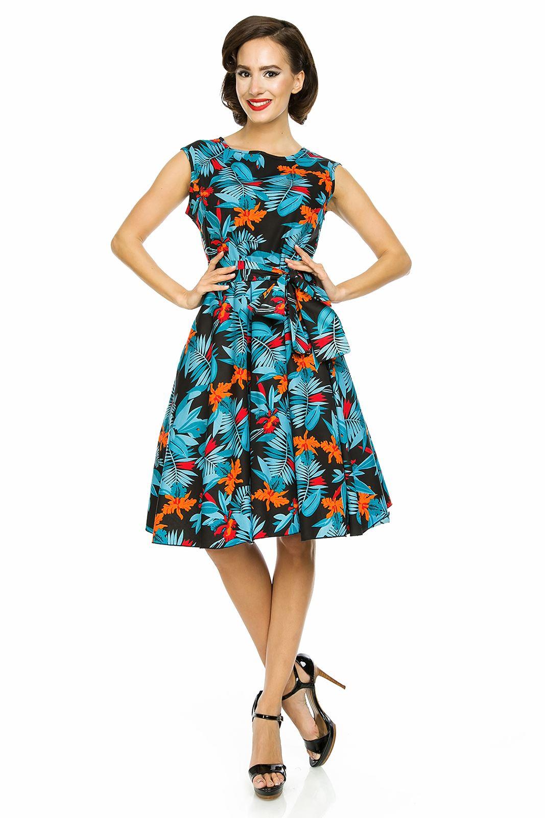 Ladies 1950\'s Retro Vintage Audery Hepburn Tropical Leaf Tea Swing ...