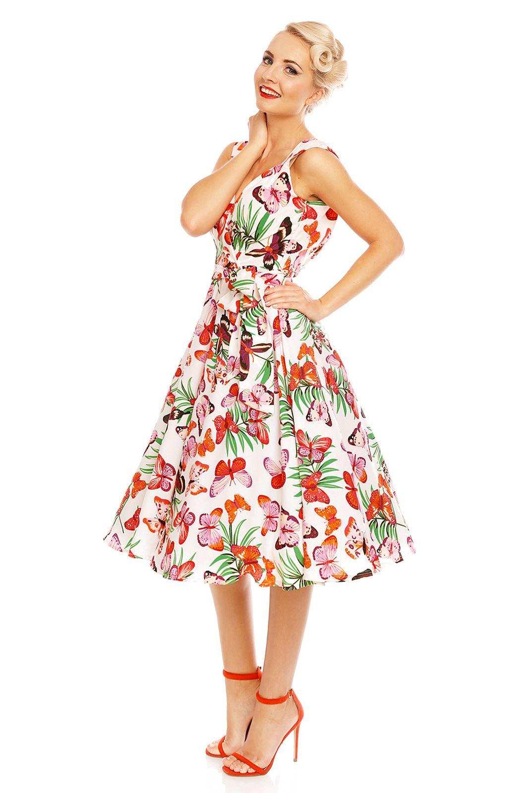 kleid Für Frauen Looking Glam Retro Vintage Schmetterling Drucken