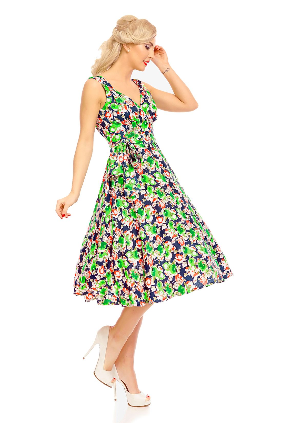 Ladies-Retro-Vintage-Rockabilly-Pin-Up-Swing-Dress-Butterfly-Floral-Dress