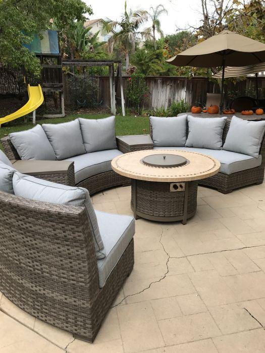 Awesome Details About Bdpdsgcssp Bermuda Platinum 6 Piece Circular Sofa Set Canvas Spa Machost Co Dining Chair Design Ideas Machostcouk