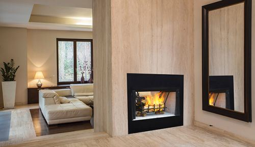 36 Radiant See Thru Wood Burning Fireplace W White Stacked Panel