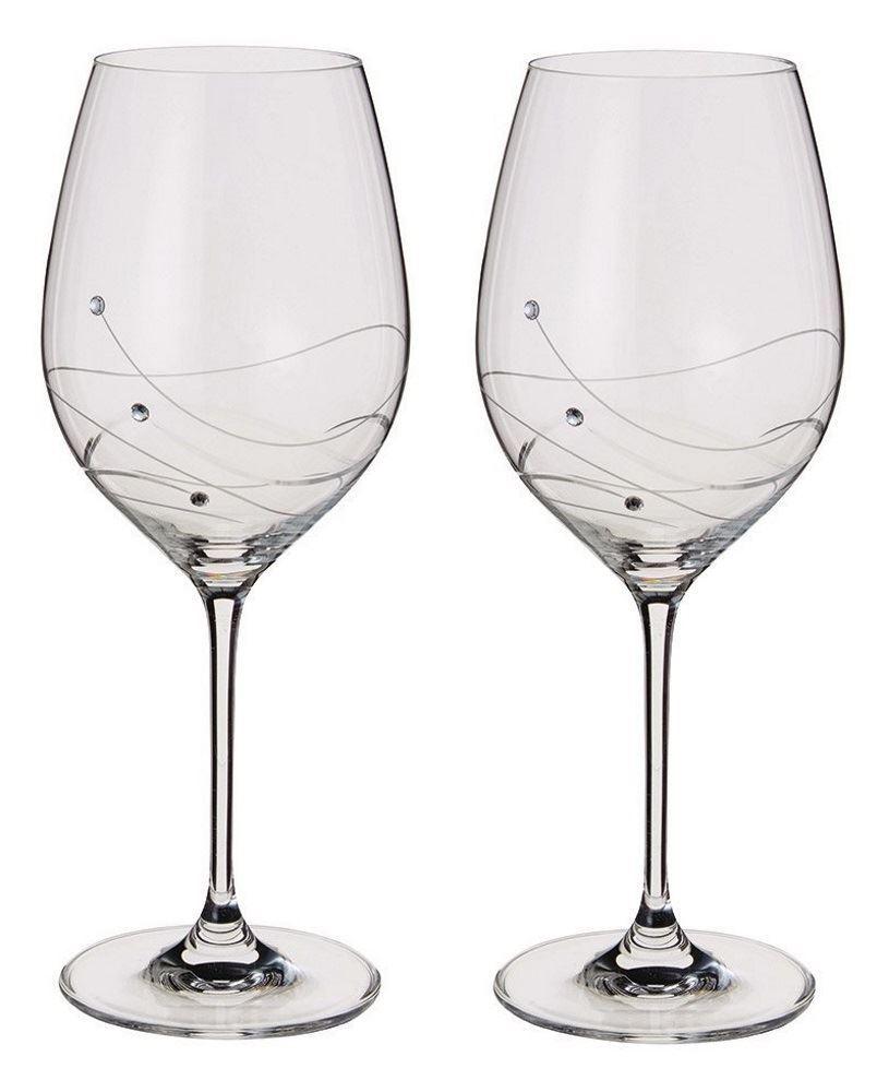 Dartington crystal swarovski glitz set of 2 wine glasses or goblets ebay - Swarovski stemware ...