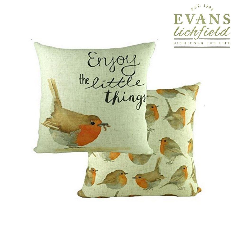 Evans Lichfield Weihnachten Bezüge Robin bedruckt gefülltes Kissen ...
