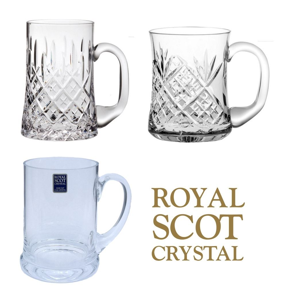 royal scot crystal 1 pint beer mug tankard london edinburgh or plain design ebay. Black Bedroom Furniture Sets. Home Design Ideas