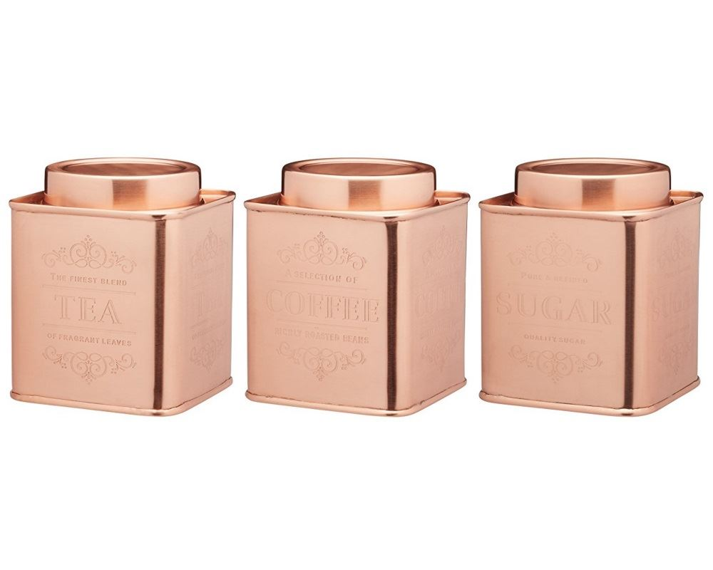 storage canisters kitchen kitchencraft le xpress copper metal tea coffee sugar 2548