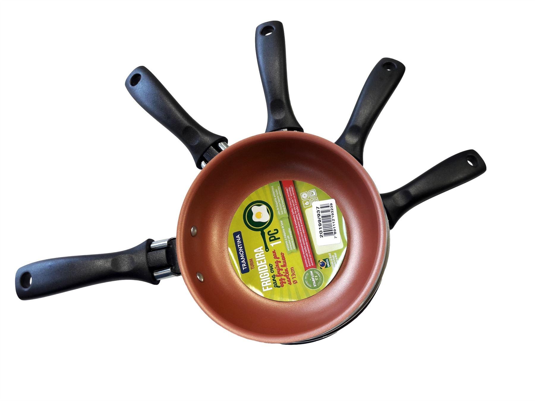 Tramontina Small Blini Deep Frying Frypan Pan 13cm dia Metallic Copper Gold Blue