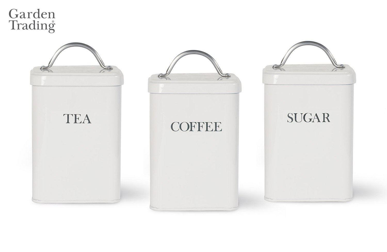 Garden Trading Metall Tee Kaffe Zucker Glas Kanister in Kreide Weiß ...