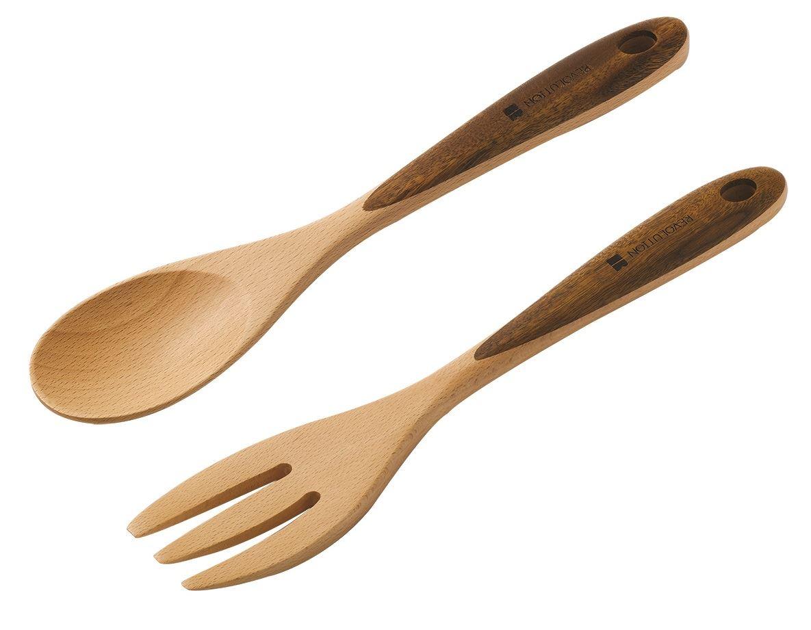 Dexam Beech & Acacia Wood Utensils, Spoon, Tongs, Ladle or Salad ...