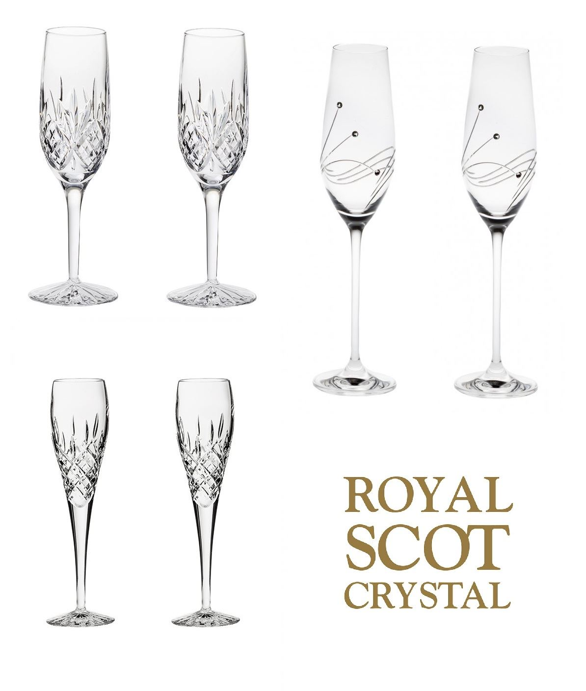 royal scot crystal 2er set champagner glas strass london oder highland. Black Bedroom Furniture Sets. Home Design Ideas