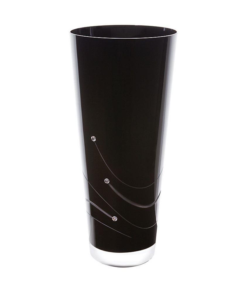 dartington crystal glitz noir black 30cm conical vase with. Black Bedroom Furniture Sets. Home Design Ideas