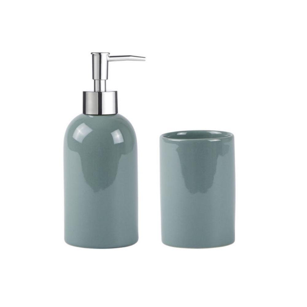 Galzone-2-Pce-Bathroom-Set-Soap-Dispenser-Toothbrush-Mug-in-Mint-or-Dust-Green