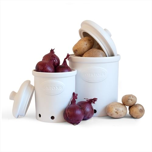 Decorative Vegetable Jars: Galzone Ceramic Vegetable Storage Jars, Garlic, Onion Or