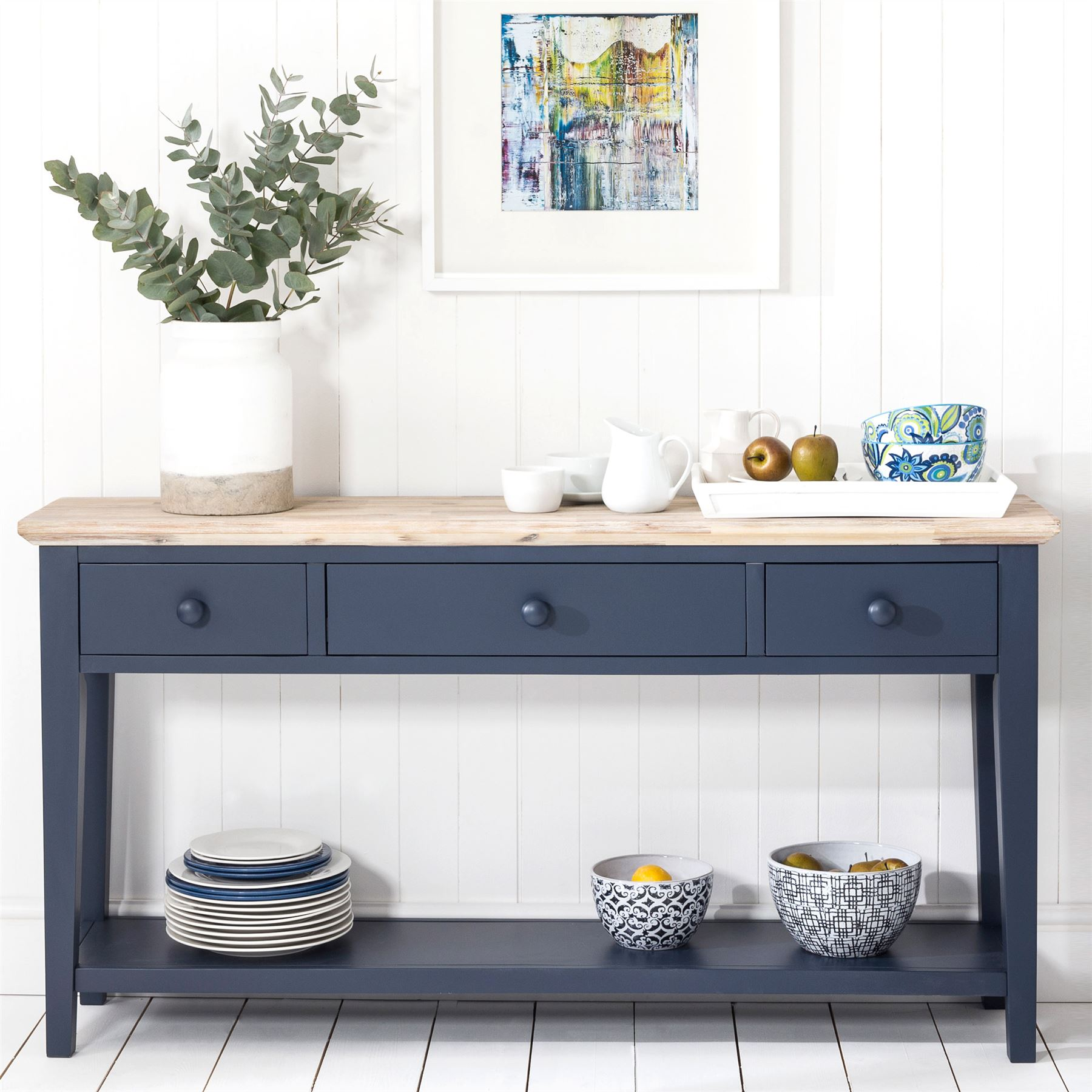 Details About Florence Navy Blue Console Table Kitchen Hallway Console Table 3 Drawers Shelf