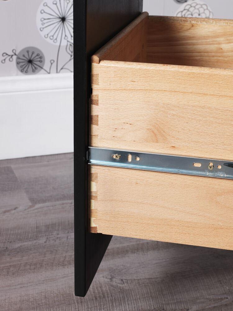 Black Metal Bedside Tables: BROOKLYN Black Bedside Table,ASSEMBLED Bedside Cabinet