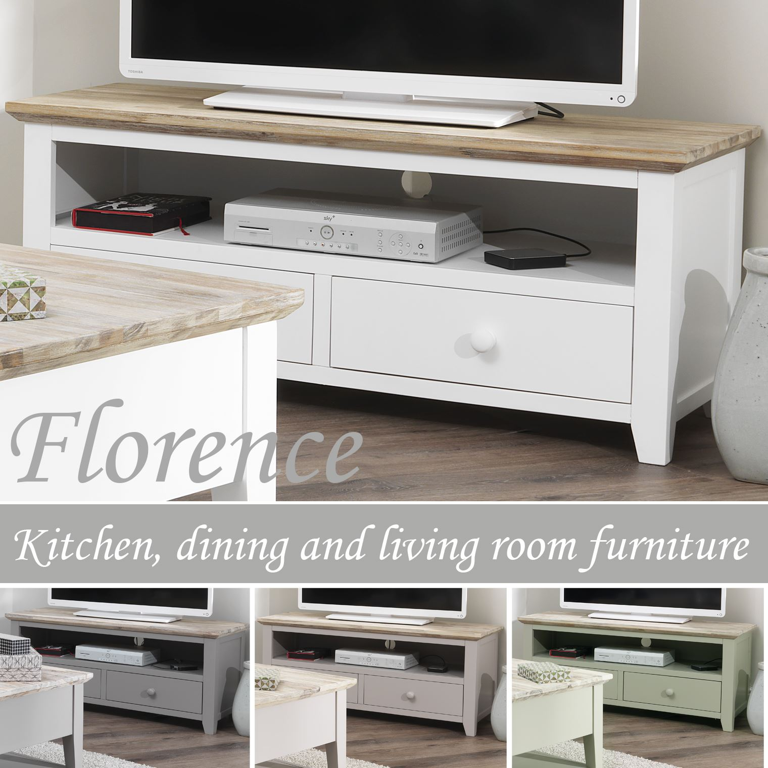 Details about florence tv unit with 2 drawers stunning tv stand in 4 colours fully assembled