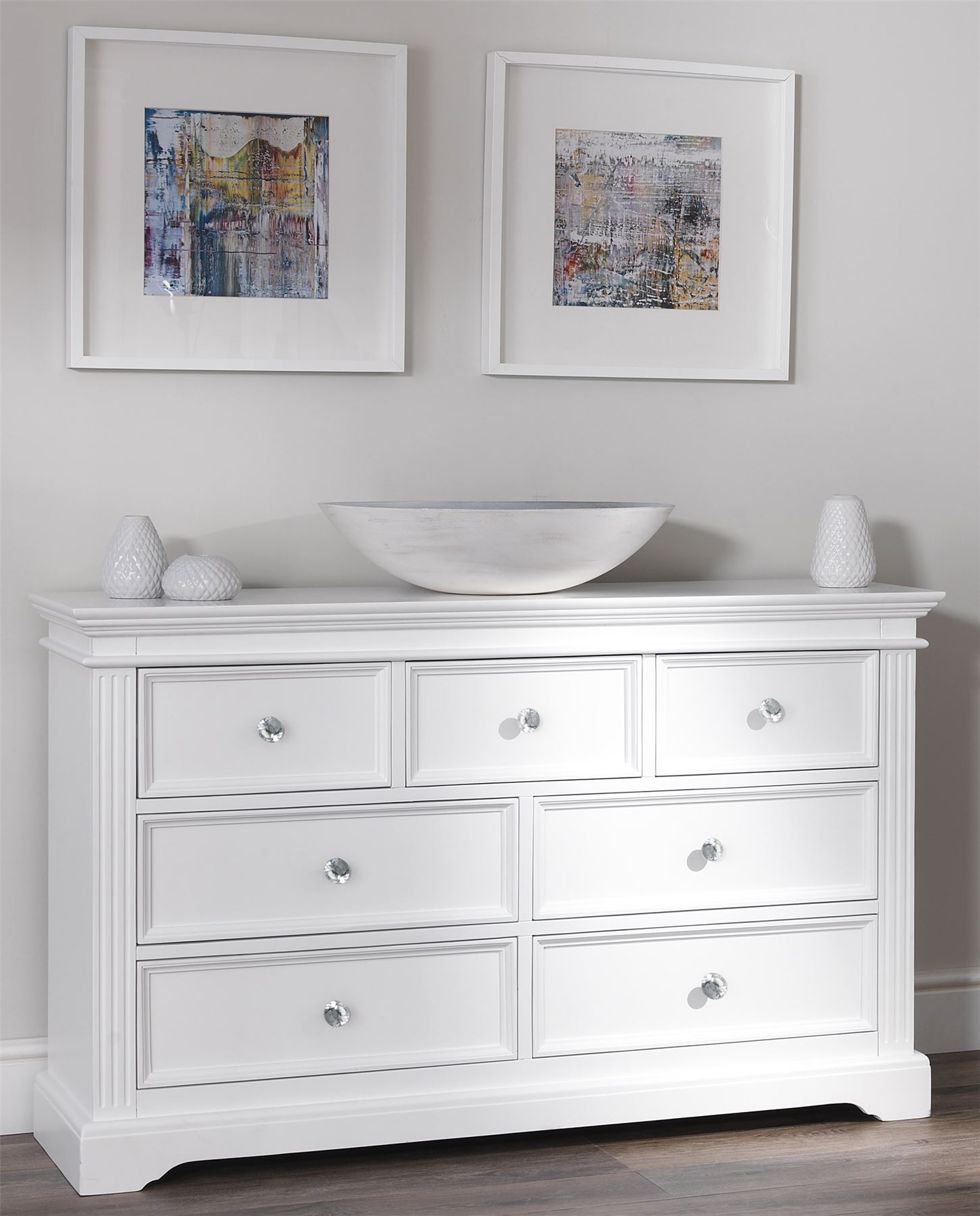 Details About Gainsborough Large White Chest Of Drawers 7 Drawer Dresser Crystal Knobs Solid
