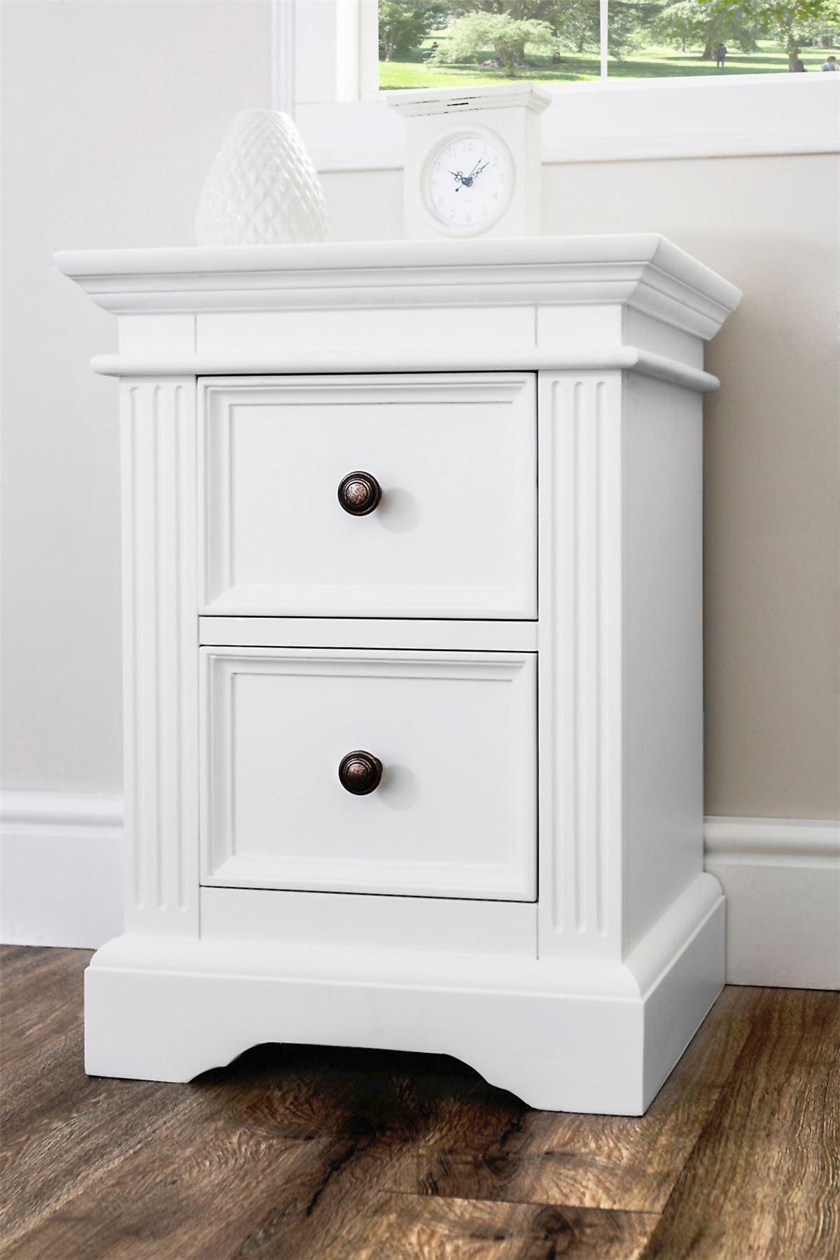 Locker Bedside Table: Gainsborough White Bedside Table, Solid Bedside Cabinet