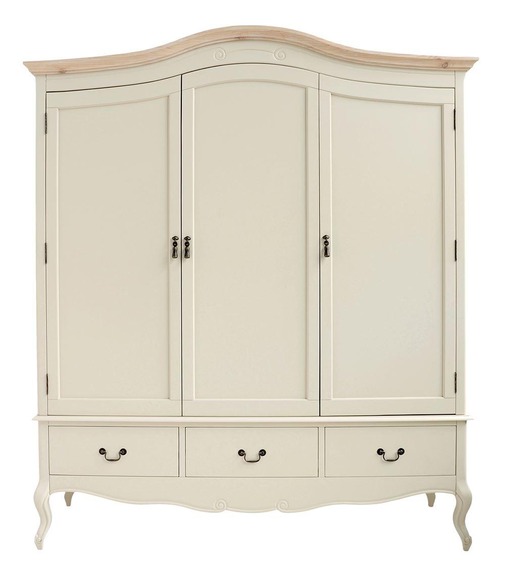 juliette shabby chic champagne triple wardrobe cream 3door. Black Bedroom Furniture Sets. Home Design Ideas