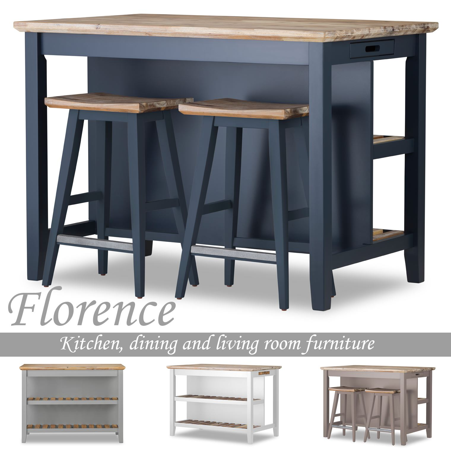 Details About Florence Breakfast Bar With 2 Large Shelves Small Kitchen Island With Storage