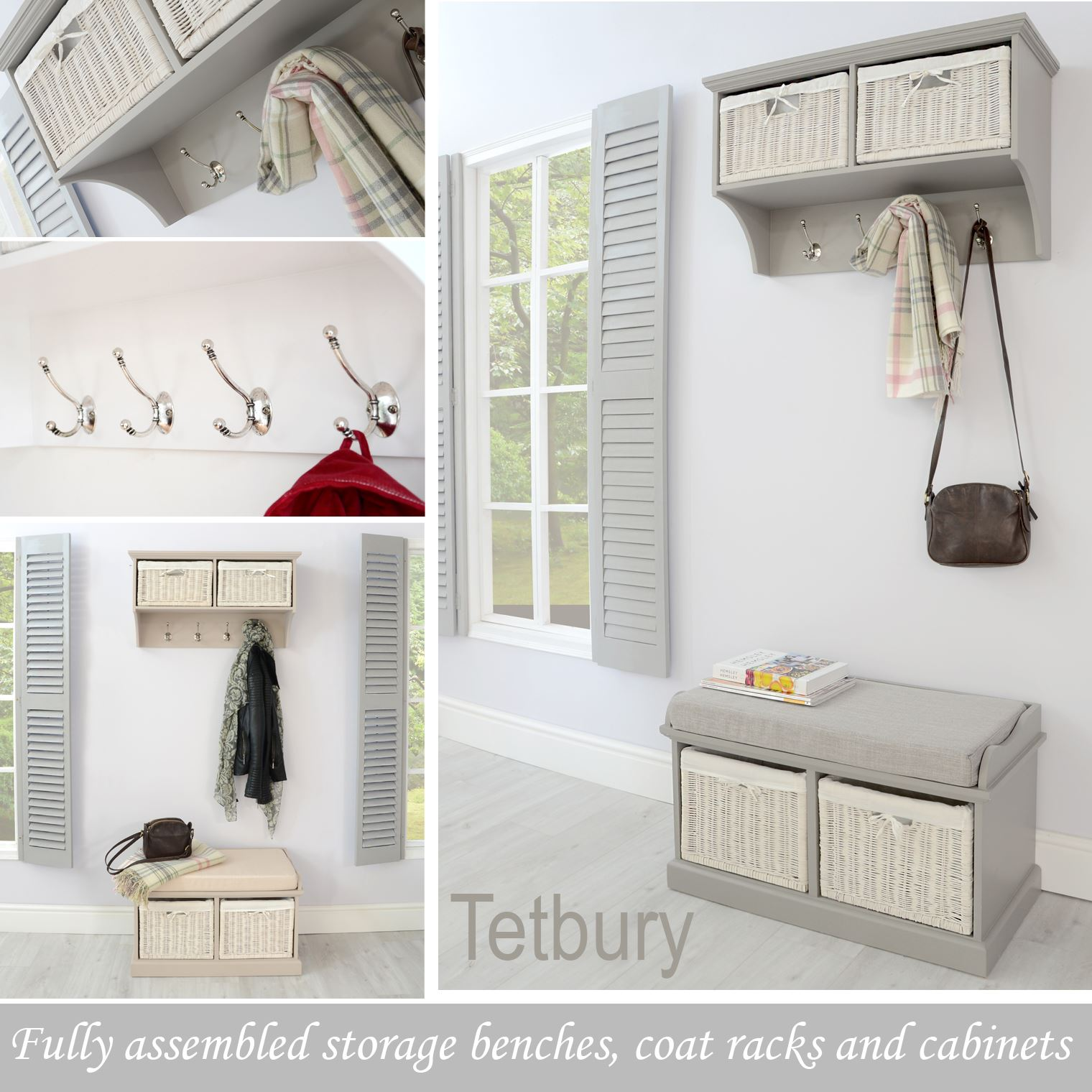 Details about tetbury hallway set hanging shelf and bench very sturdy hallway furniture