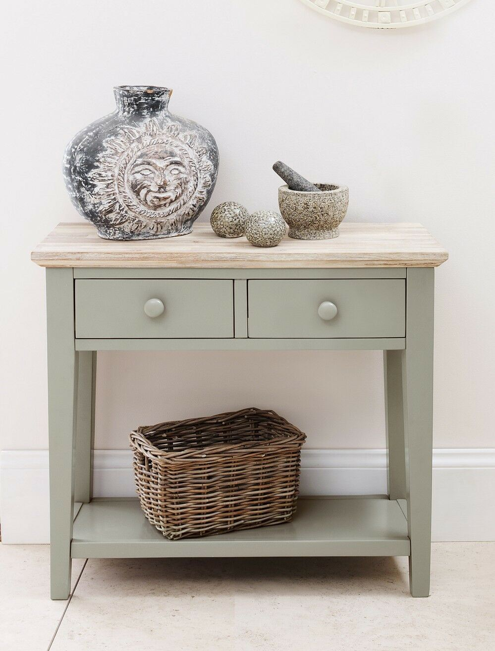 Florence Console Table Kitchen Hall Table With 2 Drawers Sage Green End Table Ebay