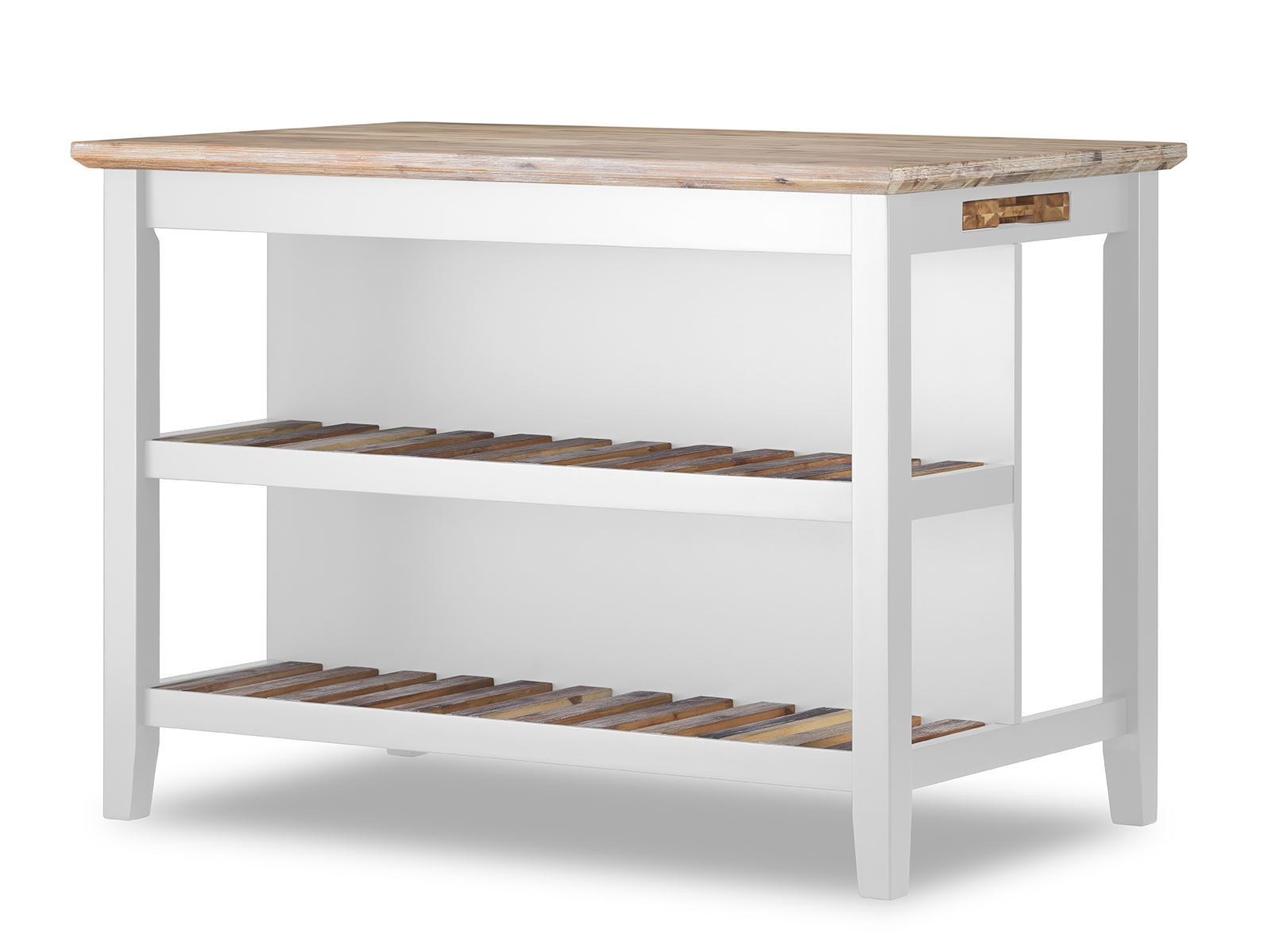 florence breakfast bar with 2 large shelves. small kitchen