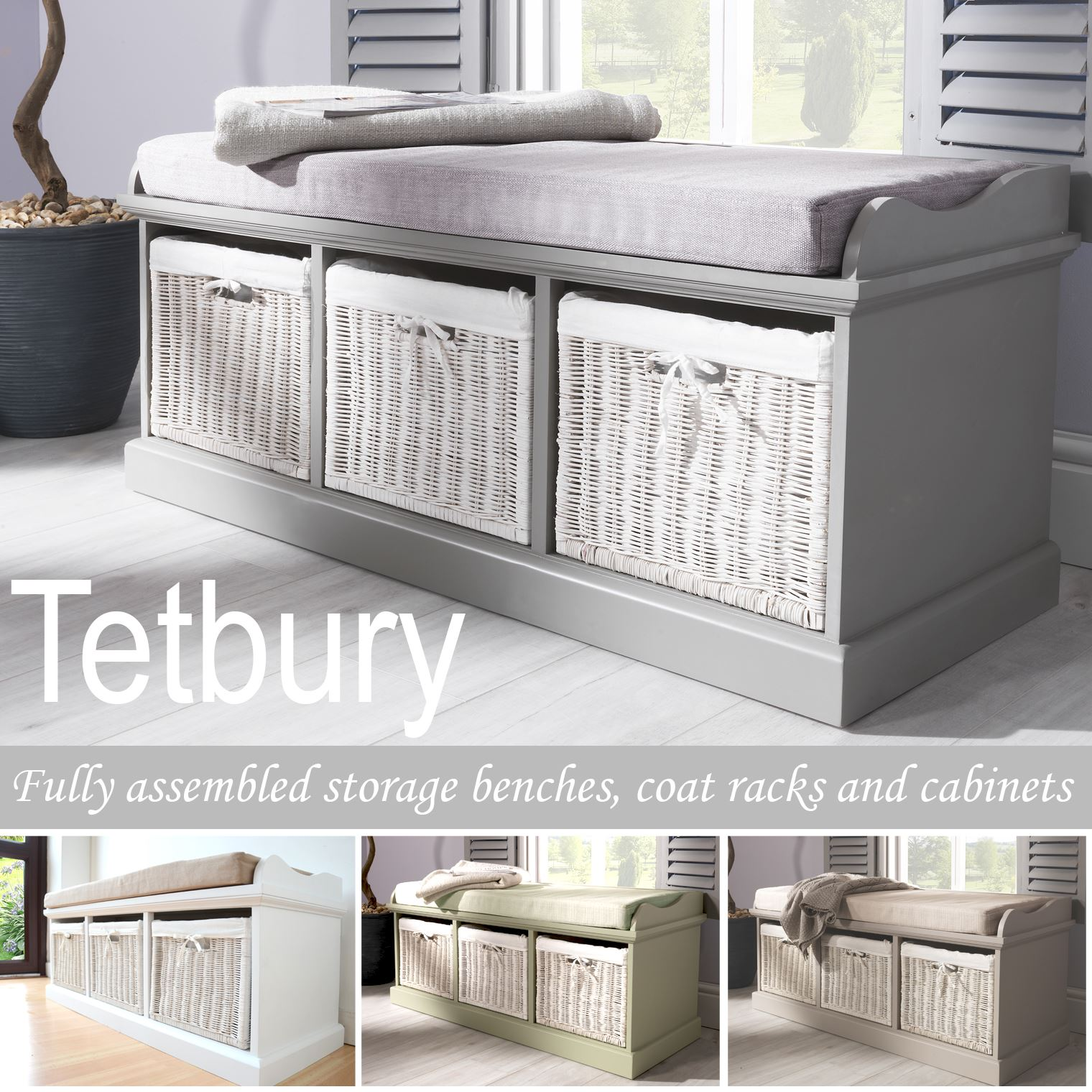 Details About Tetbury Bench With 3 Storage Baskets Sturdy Hallway Bench With Cushion Seat