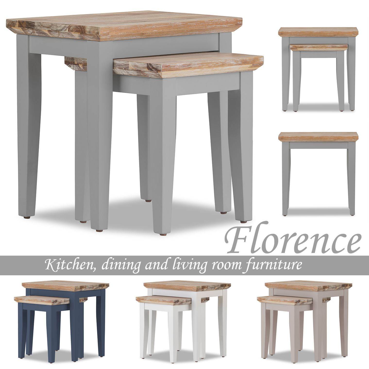 Details about florence nest of tables set of 2 sofa tableswooden lamp tables fully assembled