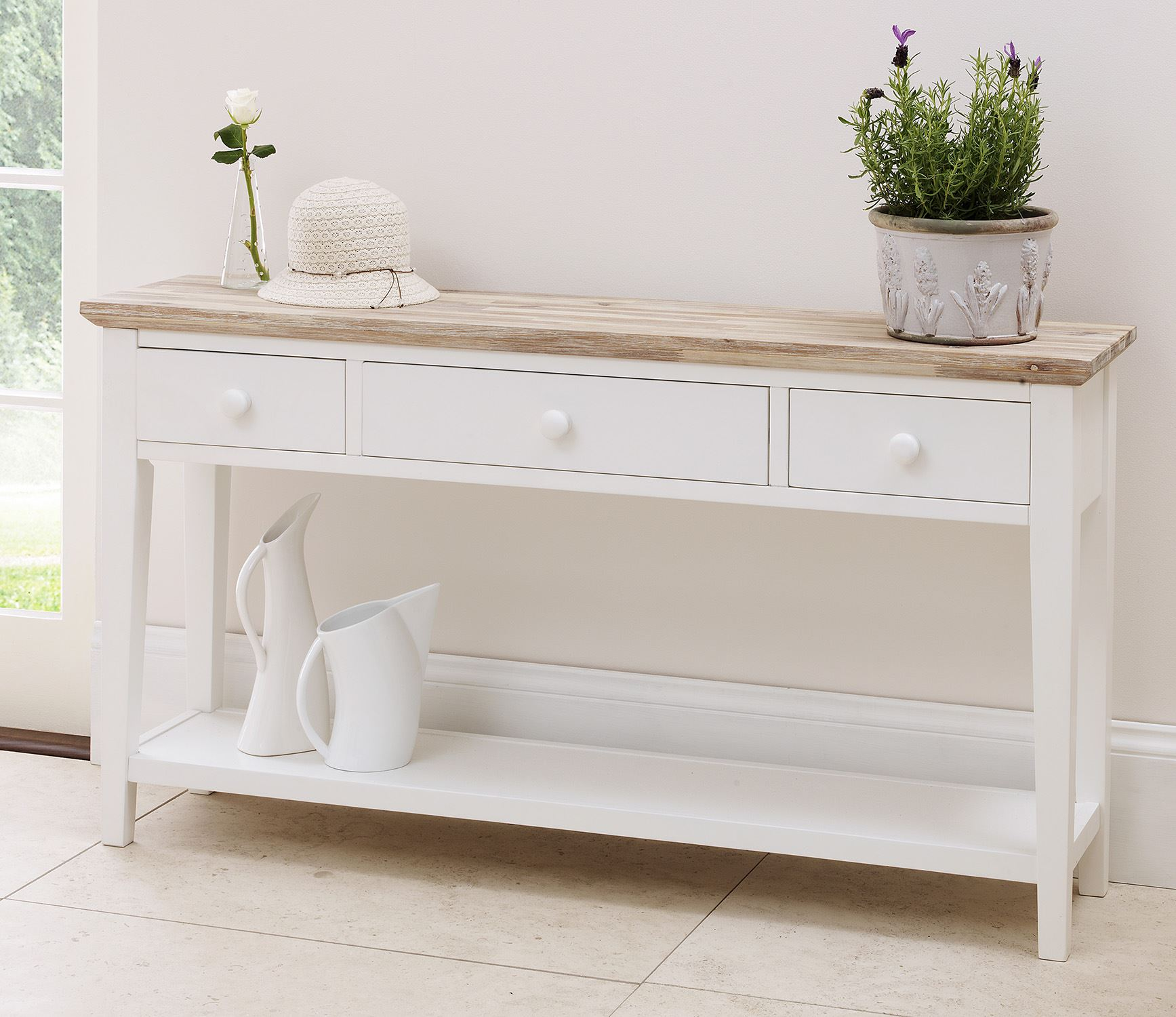 Pleasant Details About Florence White Console Table Stunning Kitchen Console Table 3 Drawers Bargain Interior Design Ideas Oxytryabchikinfo