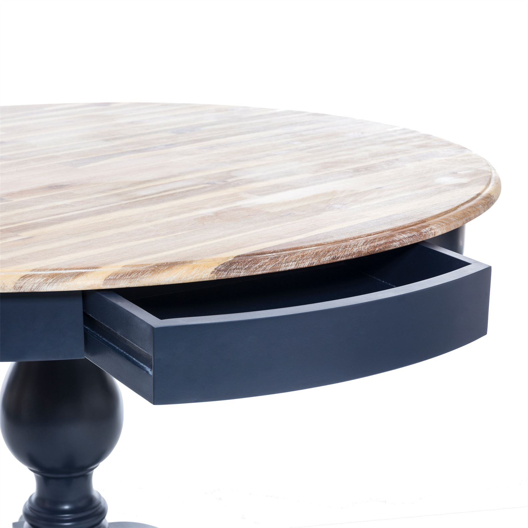 Florence Large Pedestal Dining Table Navy Blue Round Dining Table With 2 Drawers 5060346455419 Ebay