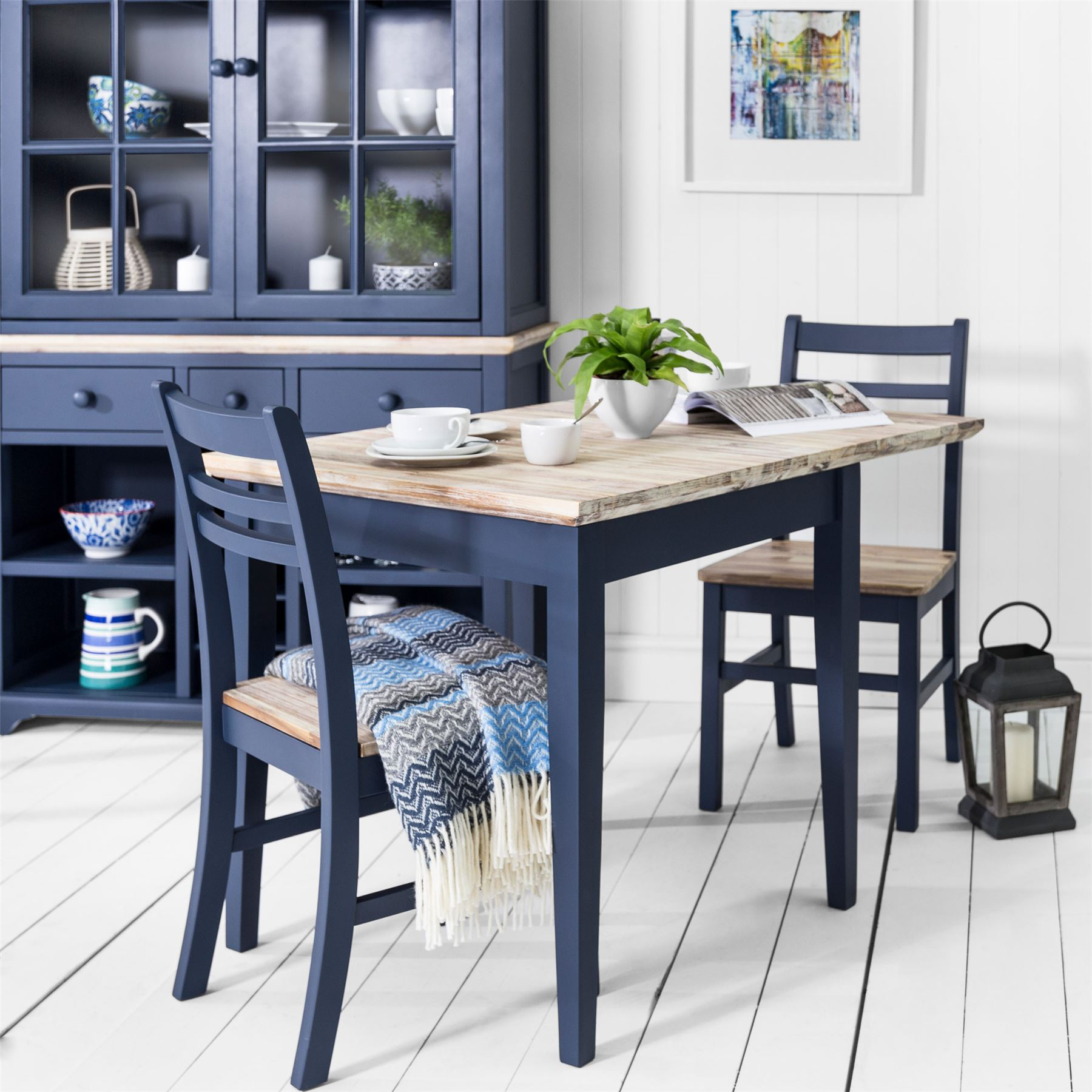 Florence Square Extended Table Navy Blue Kitchen Table