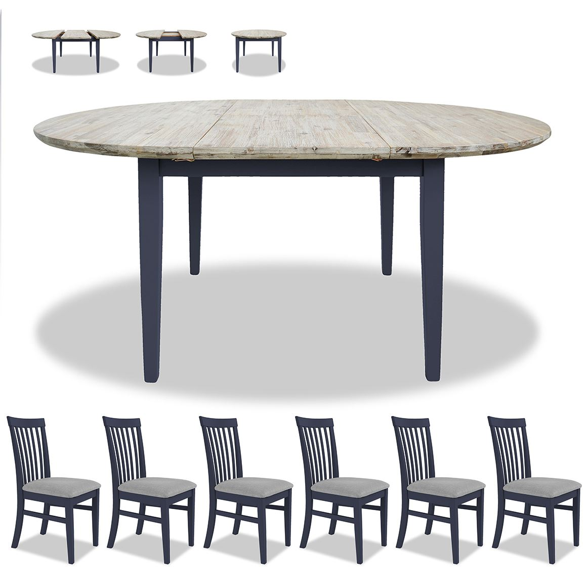 Florence oval extending dining table and 6 chairs.Wooden ...