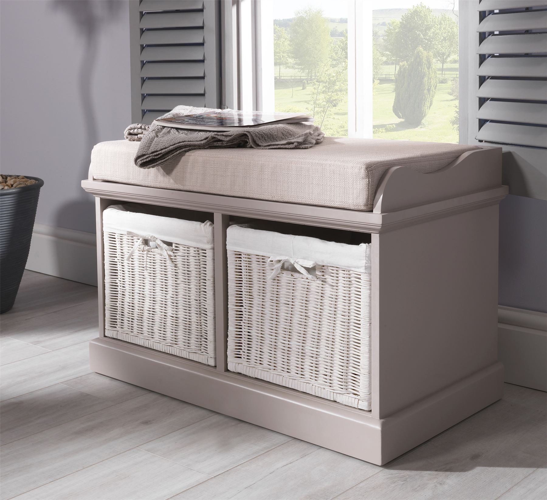 Tetbury bench with 2 white baskets hallway storage bench with cushion 4 colours ebay Storage bench cushion
