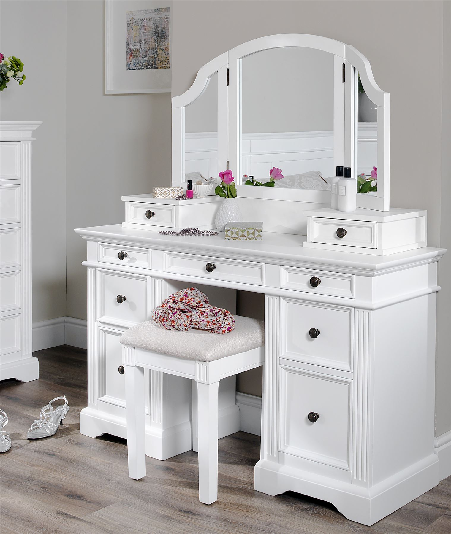 Gainsborough Dressing Table Solid White Dressing Table Deep Drawers
