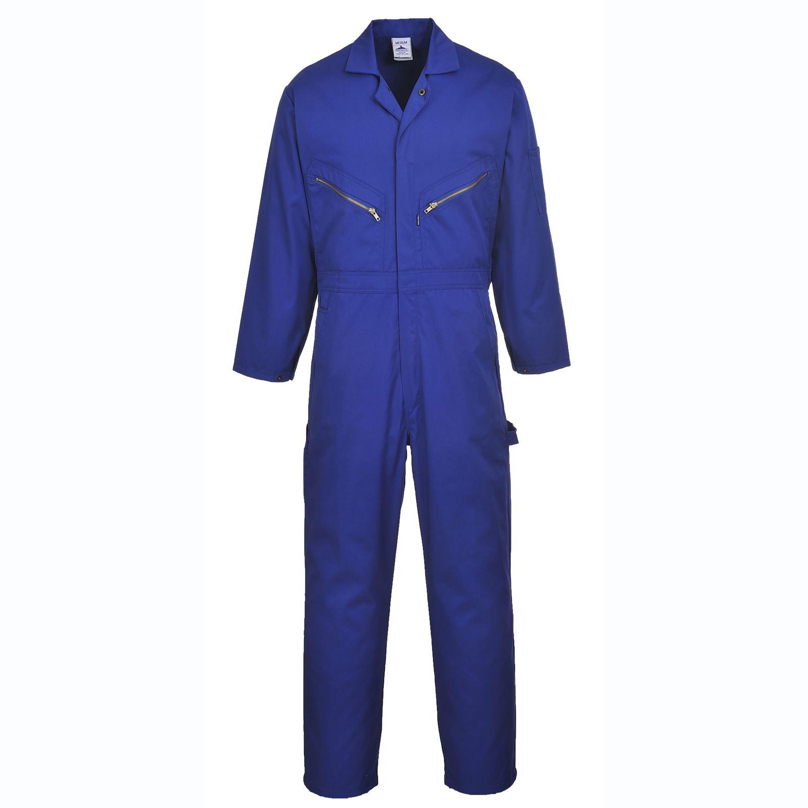 Portwest-Coton-Combinaison-Bleu-De-Chauffe-Fermeture-Eclair-A-L-039-avant