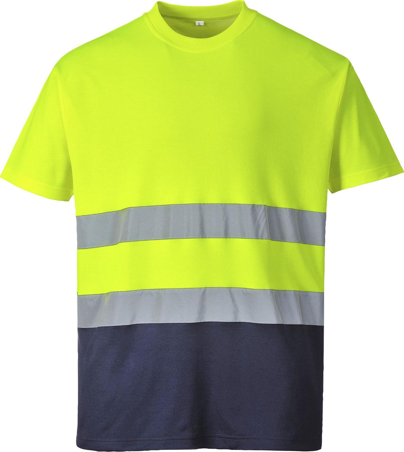 Portwest-due-toni-Comfort-Cotone-T-Shirt-Polo-Hi-Vis-Workwear-s173