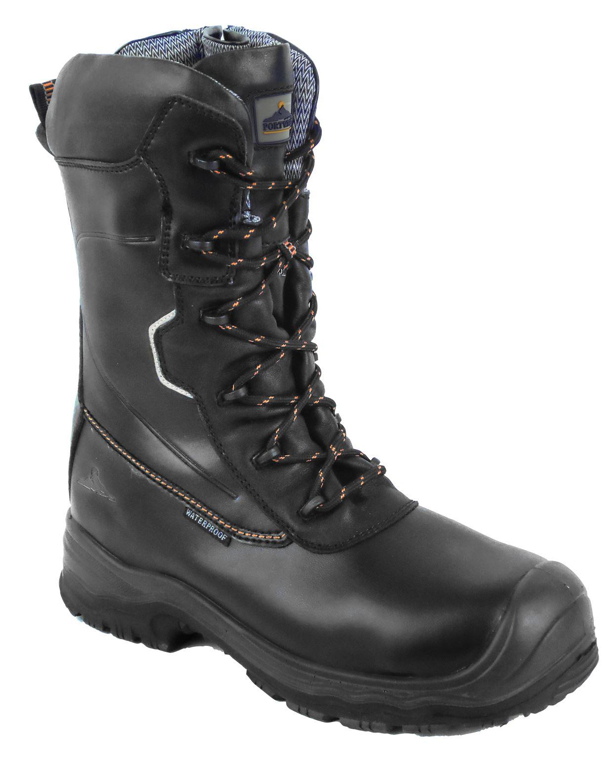 Portwest in pelle di trazione 10 Pollici Impermeabile Stivali di sicurezza antiscivolo 5-13 fd01