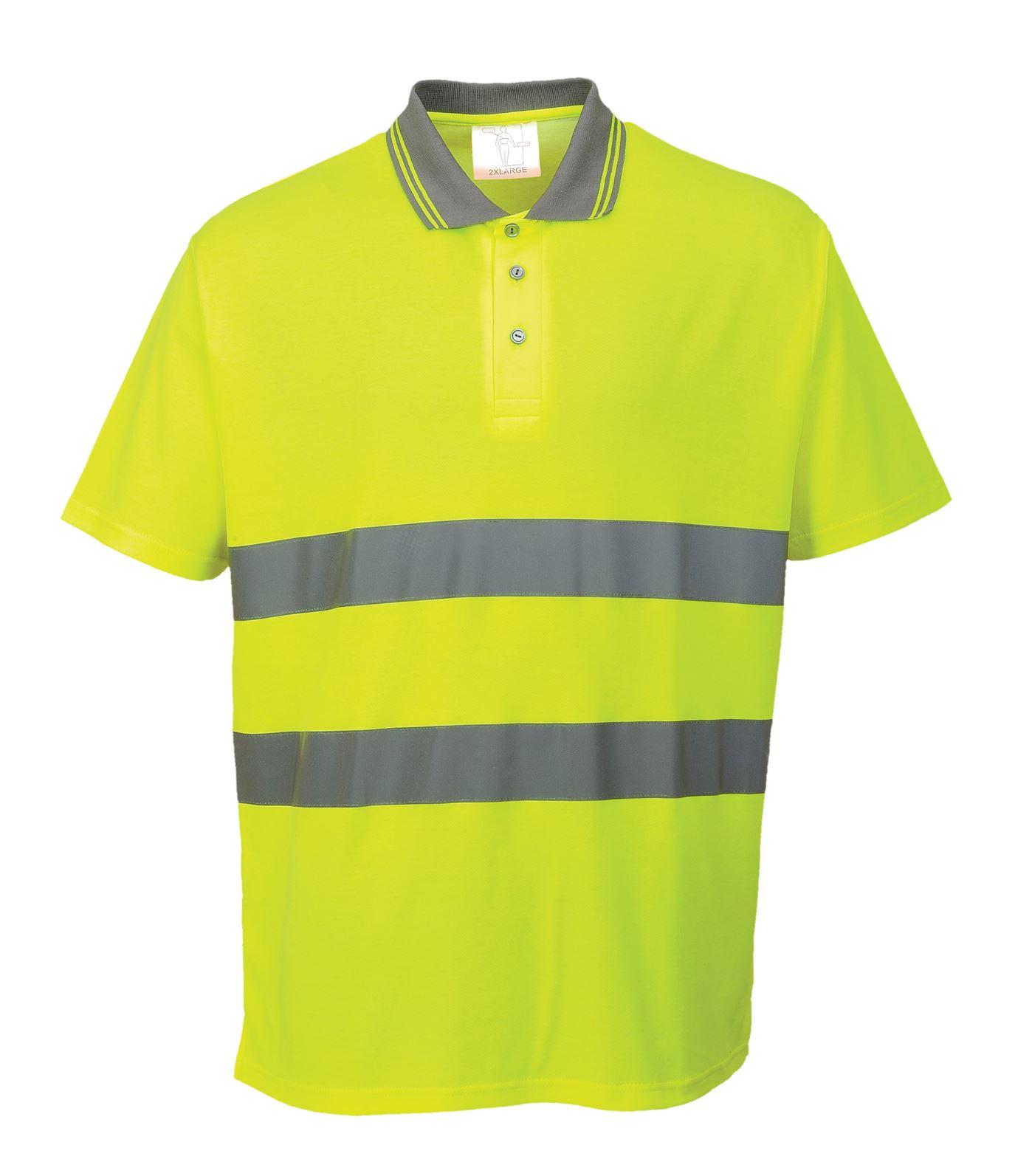 Portwest hi vis cotton comfort safety polo shirt high for Hi vis safety shirts